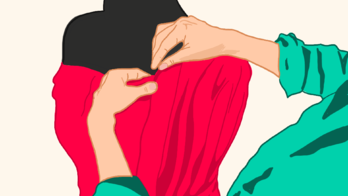 Illustration of a person pinning her fabric on mannequin