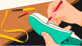 Illustration of a person doing adjustments on a leather footwear shoe
