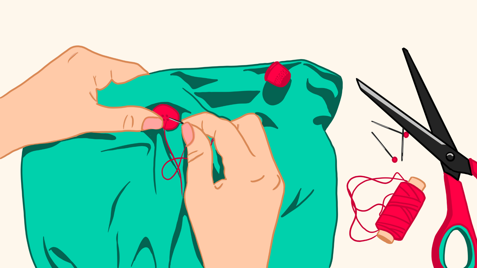 Illustration of a person hand-sewing