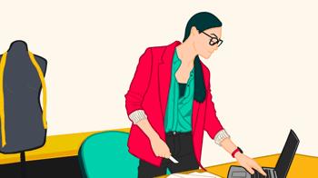 Illustration of a woman attending a fashion online webinar