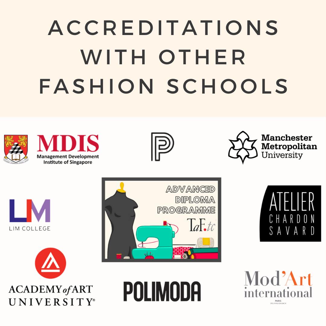 TaF.tc's accreditations with other fashion schools like MDIS (SFD) School of Fashion and Design, Paris College of Art, Manchester Metropolitan University, Atelier Chardon Savard (ACS), Mod'Art International, Polimoda, Academy of Art University and LIM College