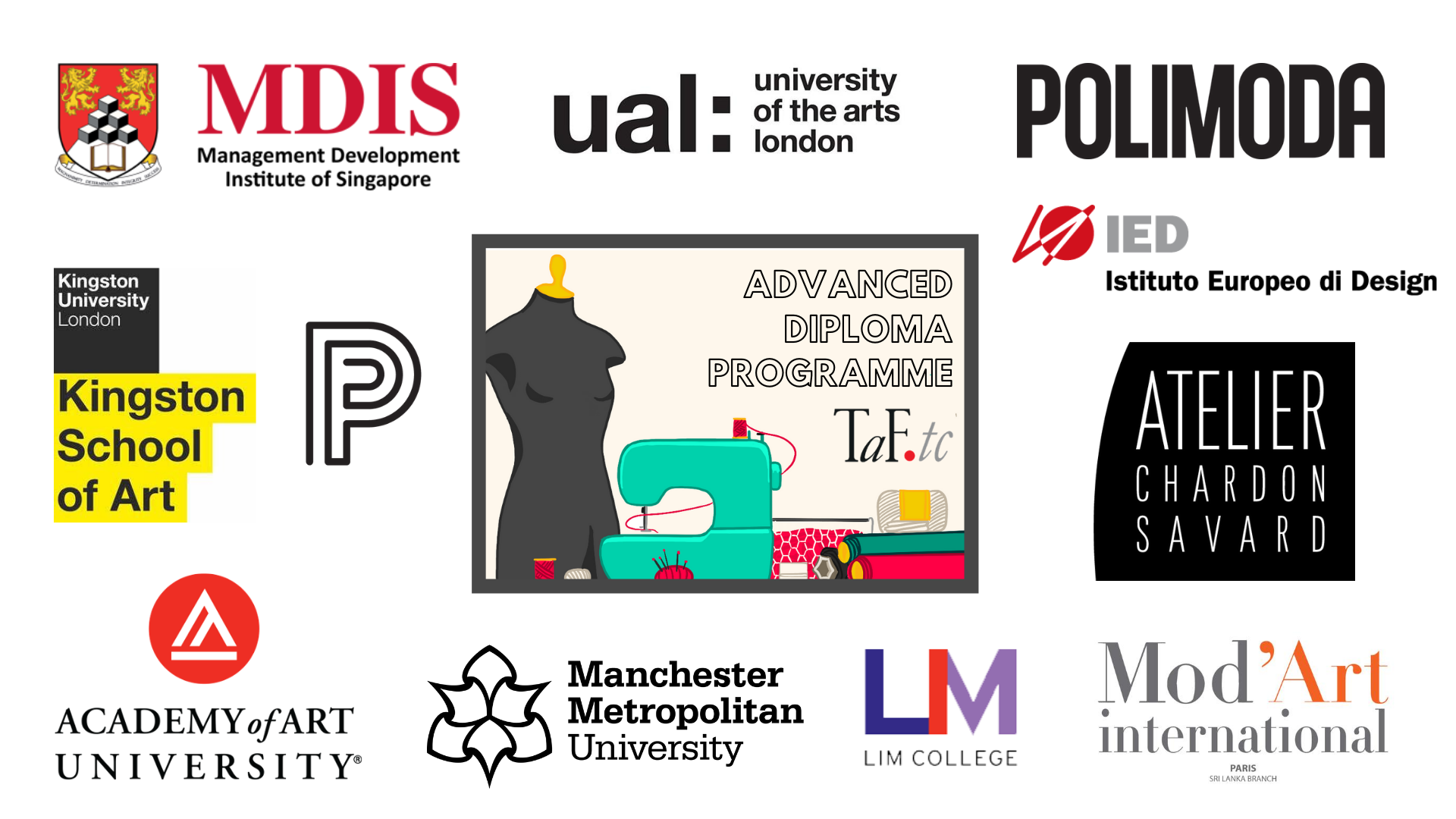 TaF.tc's accreditations with other fashion schools like MDIS, School of Fashion and Design (SFD), Paris College of Art, LIM College, Academy of Art University, Mod'Art international, Aterlier Chardon Savard, Manchester Metropolitan University, Polimoda, Kingston University, University of the Arts London (UAL), and Istituto Europeo di Design (IED)